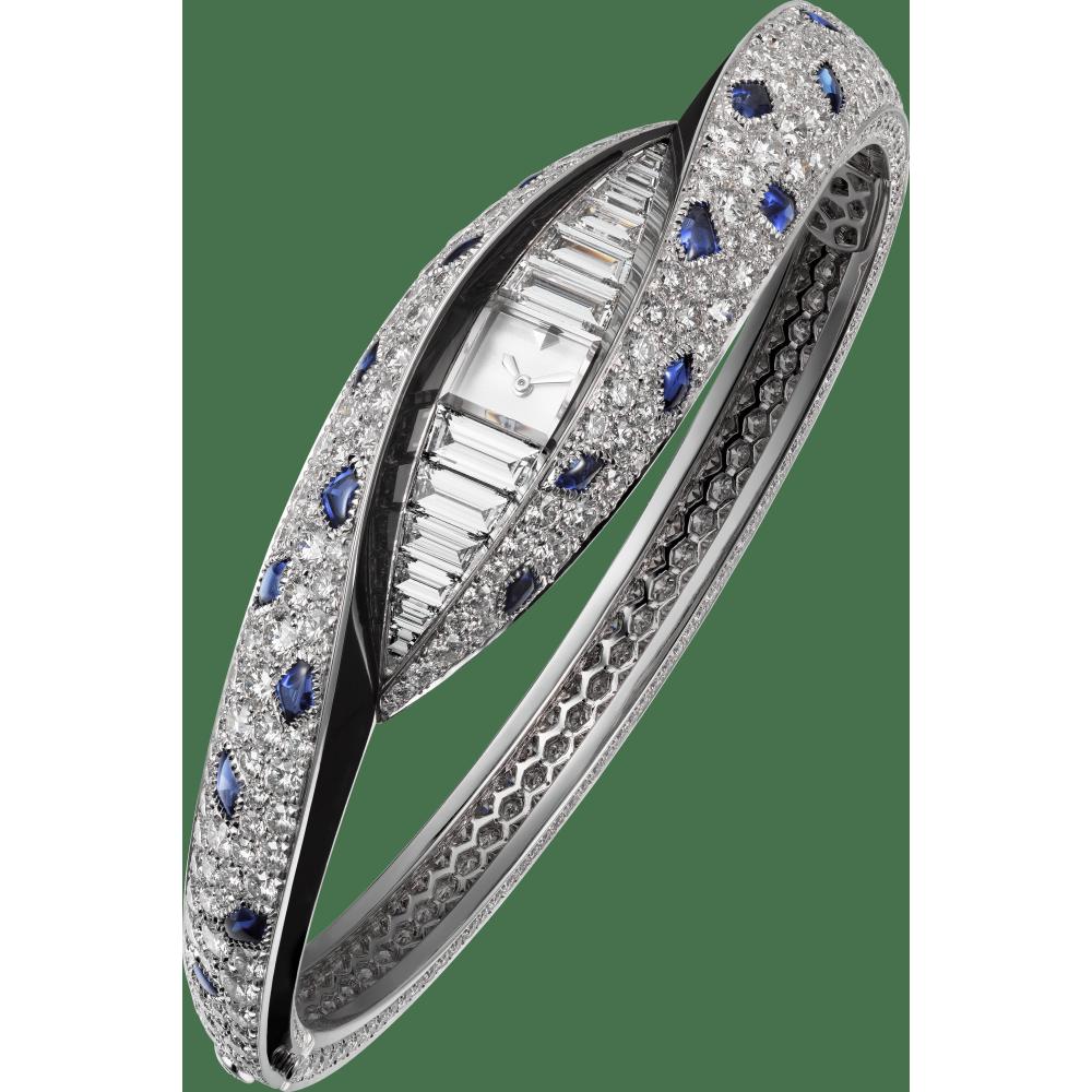 高级珠宝Regard de Panthère猎豹凝视小时显示腕表  18K白金