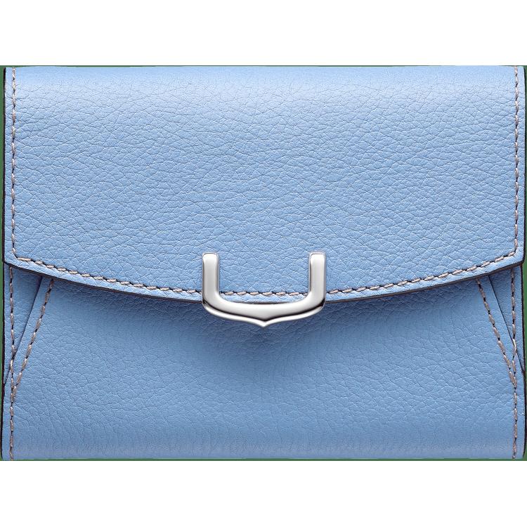 C de Cartier系列小皮具,卡片夹 蓝色 Taurillon皮革