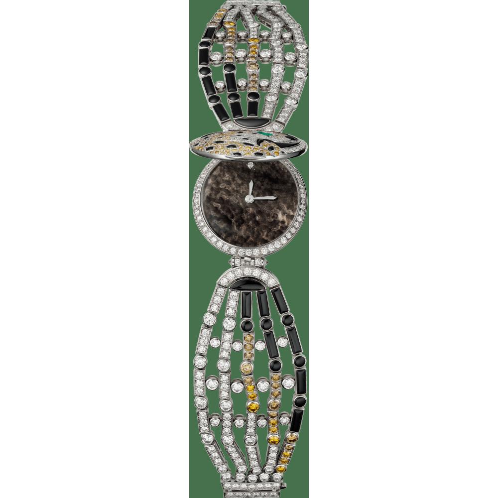高级珠宝神秘小时猎豹装饰腕表 小号 18K镀铑白金 石英