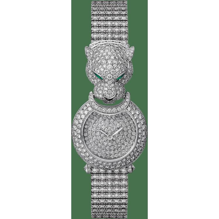 Panthère猎豹装饰珠宝腕表 小号 18K镀铑白金 石英