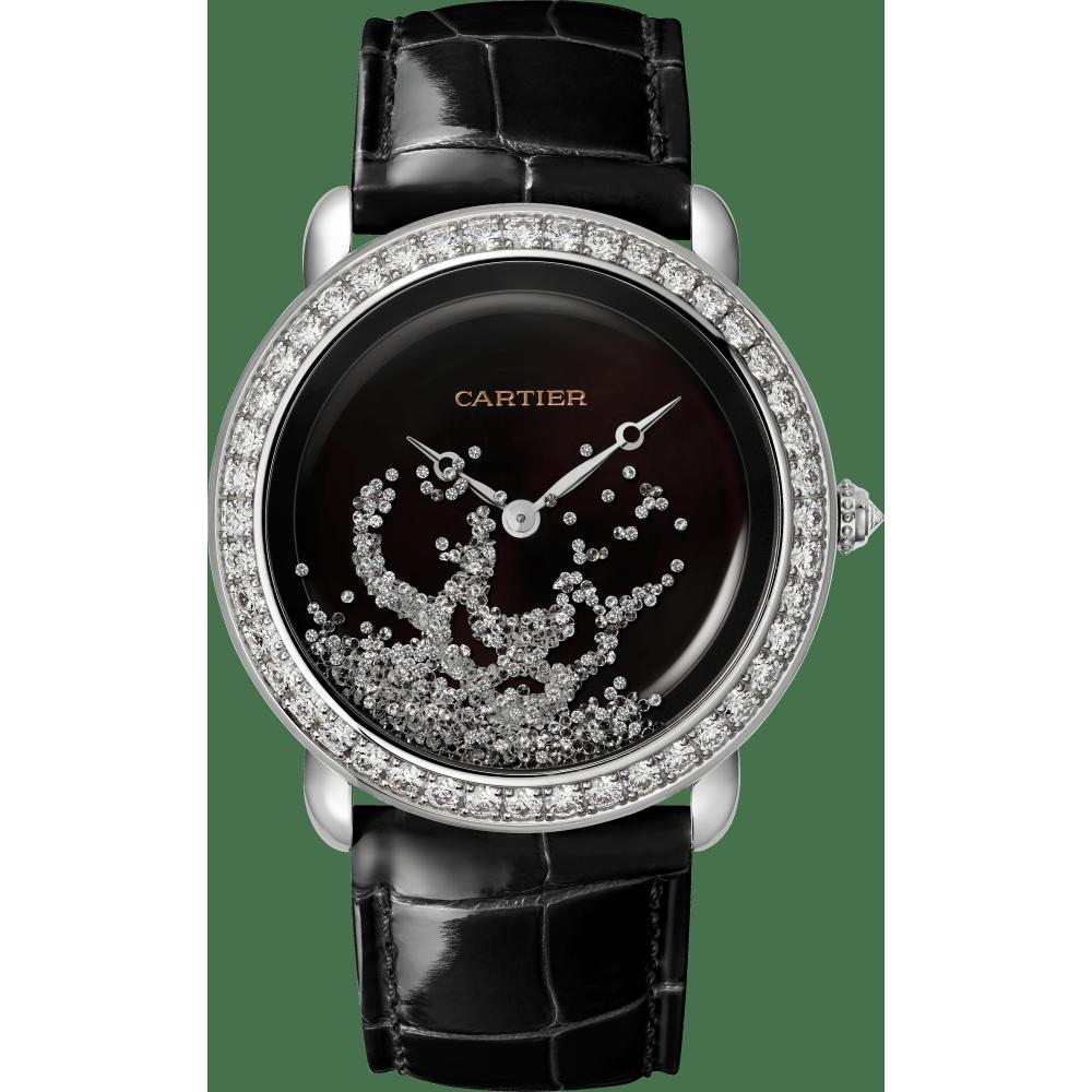 Panthère猎豹装饰珠宝腕表 37毫米 18K镀铑白金 手动上链
