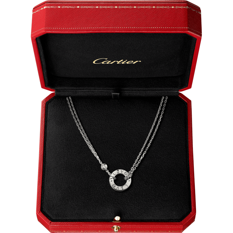 LOVE项链,镶嵌2颗钻石 18K白金