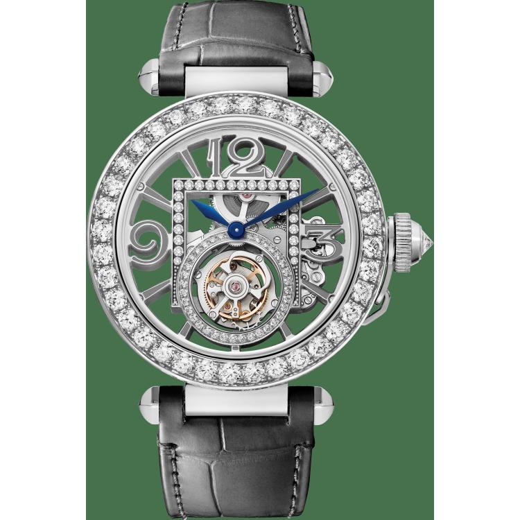 Pasha de Cartier腕表 41毫米 18K镀铑白金 手动上链