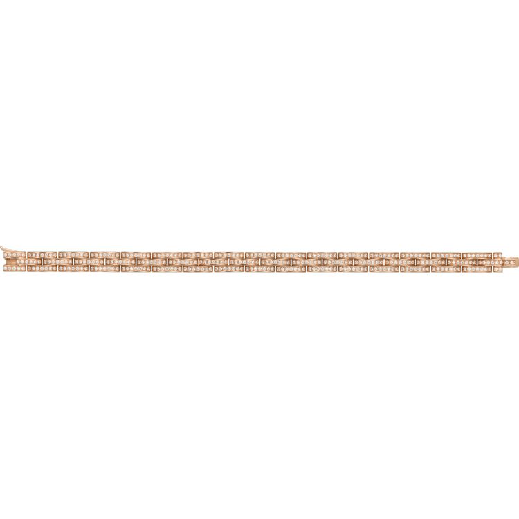 Maillon Panthère三排窄版手镯,铺镶钻石 18K玫瑰金