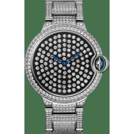 "Ballon Bleu de Cartier Serti Vibrant卡地亚蓝气球""舞动""高级珠宝腕表 42毫米 18K镀铑白金 手动上链"
