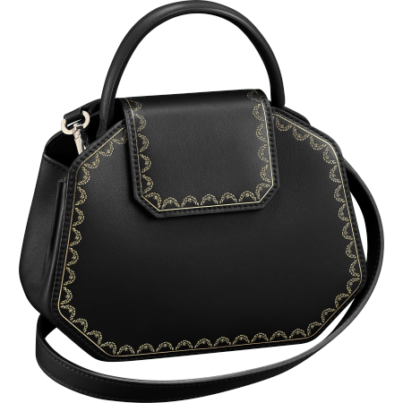 Guirlande de Cartier迷你手袋,带顶部提手 黑色 小牛皮