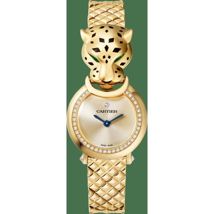 Panthère猎豹装饰珠宝腕表 中号 18K黄金 石英