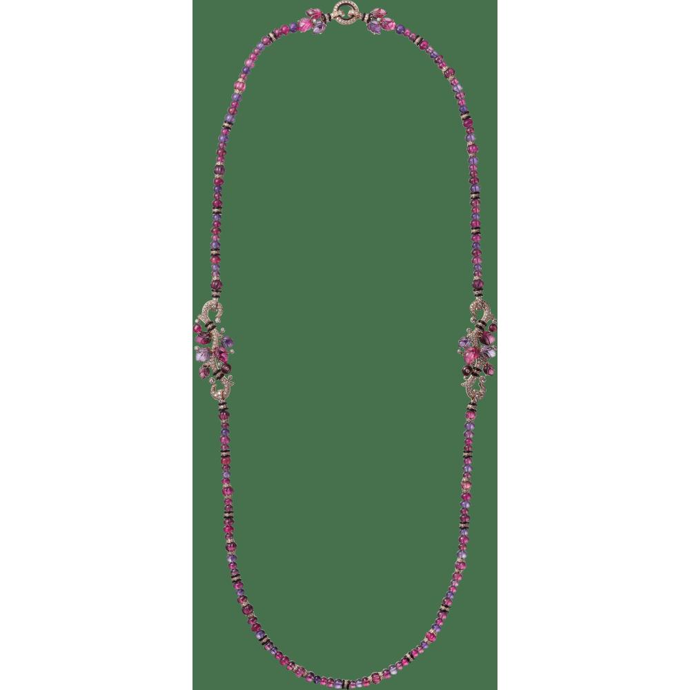 镌刻宝石项链 18K玫瑰金