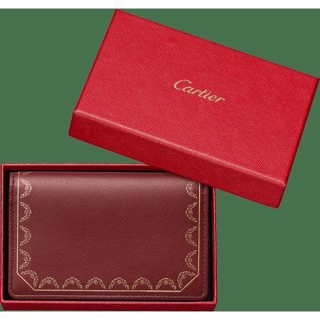 Guirlande de Cartier系列小皮具,卡片夹 酒红色 小牛皮