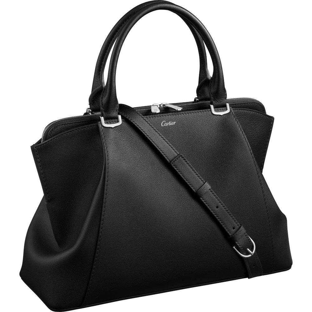 C de Cartier小号手袋 黑色 Taurillon皮革