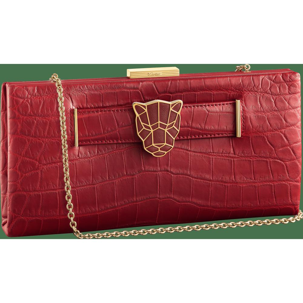 Panthère de Cartier手拿包 红色 鳄鱼皮