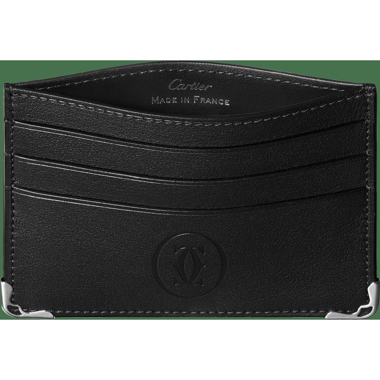 Must de Cartier单层6信用卡皮夹 黑色 小牛皮