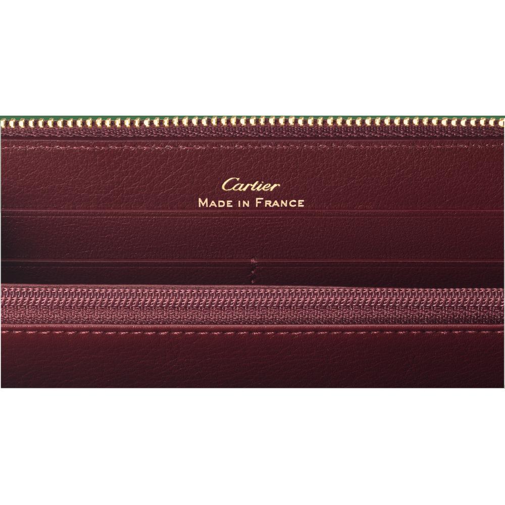 Must de Cartier拉链式通用型皮夹 酒红色 小牛皮