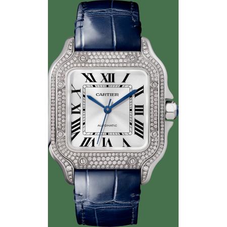 Santos de Cartier腕表 中号 18K镀铑白金 自动上链