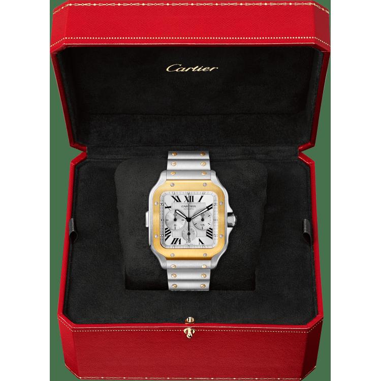 Santos de Cartier计时码表 加大号 黄K金与精钢 自动上链