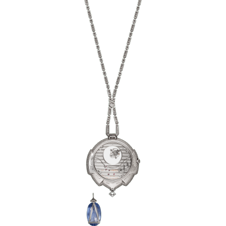 高级珠宝Azuré蔚蓝神秘陀飞轮坠饰表  18K白金