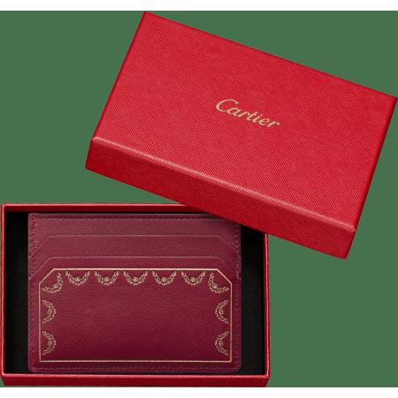 Guirlande de Cartier单卡片夹 酒红色 小牛皮