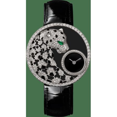 Panthère猎豹装饰珠宝腕表 36毫米 18K镀铑白金 石英