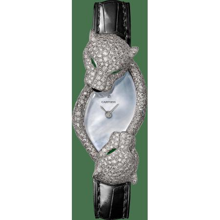 Panthère猎豹装饰珠宝腕表 中号 18K镀铑白金