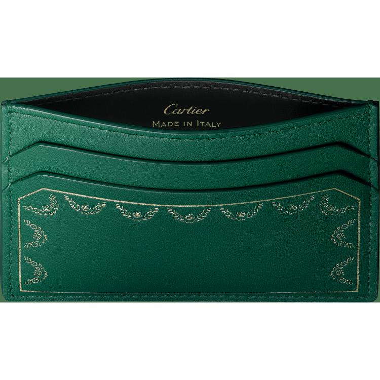 Guirlande de Cartier单卡片夹 绿色 小牛皮