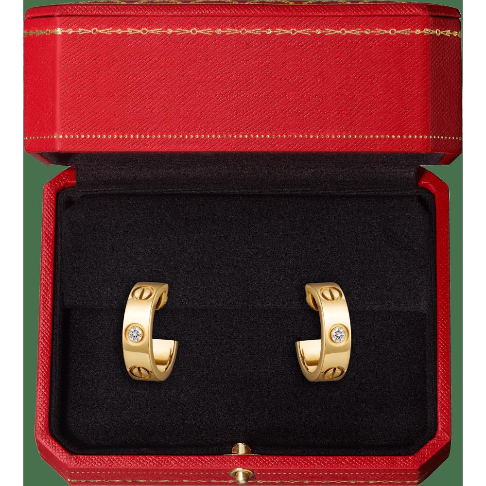 LOVE耳环,镶嵌2颗钻石 18K黄金
