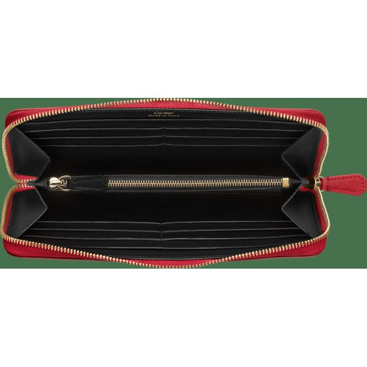Guirlande de Cartier拉链式通用型皮夹 红色 小牛皮