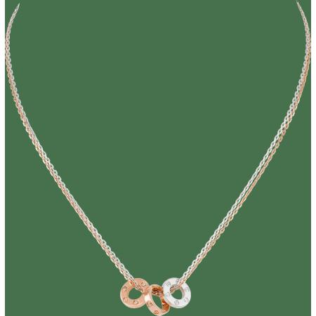 LOVE项链,镶嵌6颗钻石 18K白金,18K玫瑰金