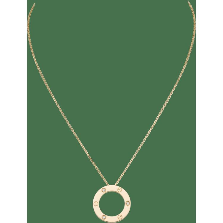 LOVE项链,镶嵌3颗钻石 18K黄金