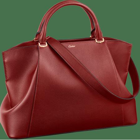 C de Cartier中号手袋 红色 Taurillon皮革