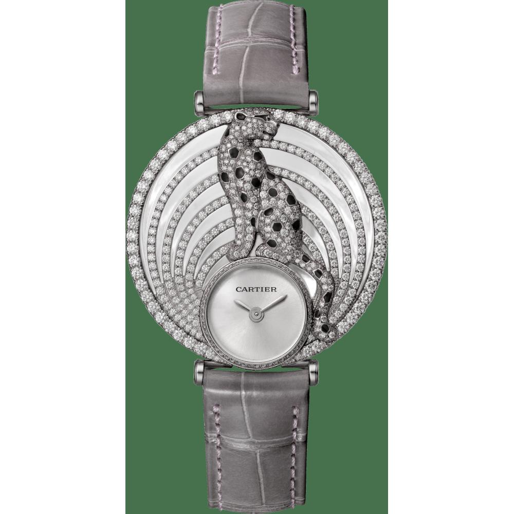 Panthère猎豹装饰珠宝腕表 大号 18K镀铑白金