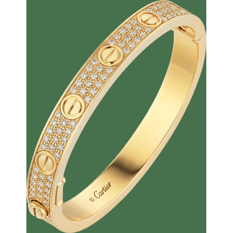 LOVE手镯,铺镶钻石 18K黄金
