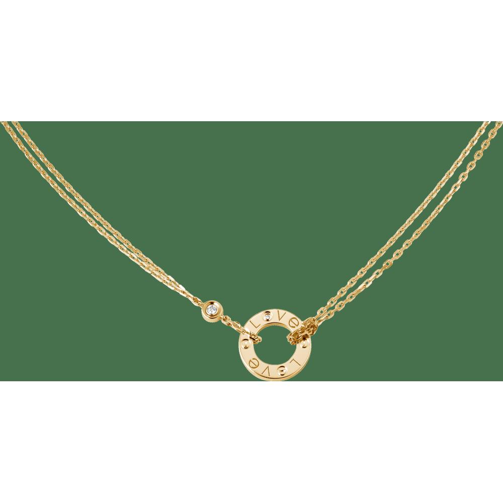 LOVE项链,镶嵌2颗钻石 18K黄金