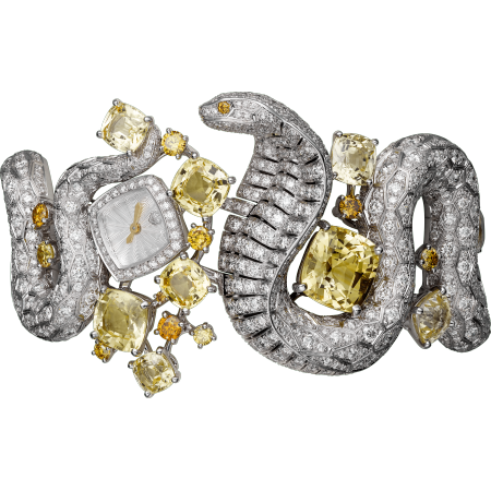高级珠宝眼镜蛇装饰腕表  18K白金