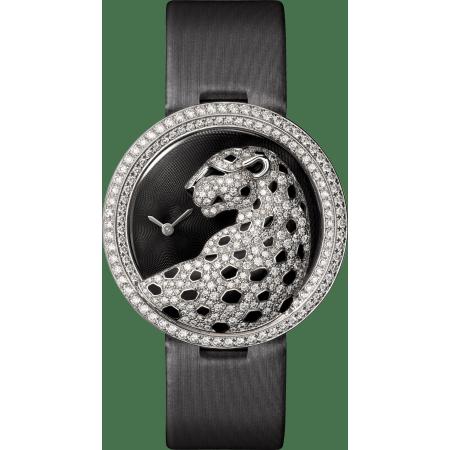 Panthère猎豹装饰珠宝腕表 38毫米 18K镀铑白金 石英