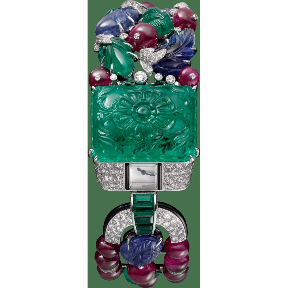 高级珠宝Tutti Frutti水果锦囊风格装饰Agrafe腕表  18K白金