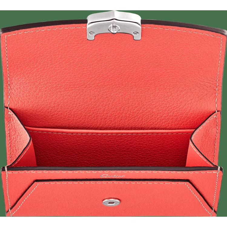 C de Cartier系列小皮具,名片夹 粉色 Taurillon皮革