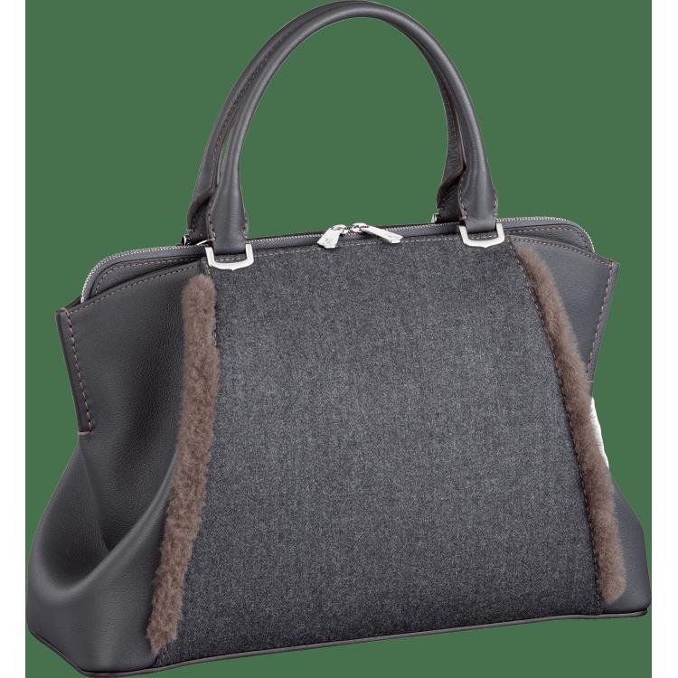 C de Cartier小号手袋 灰色 Taurillon皮革
