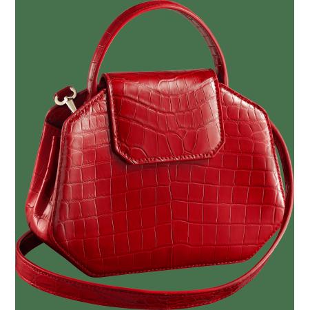 Guirlande de Cartier迷你手袋,带顶部提手 红色 鳄鱼皮