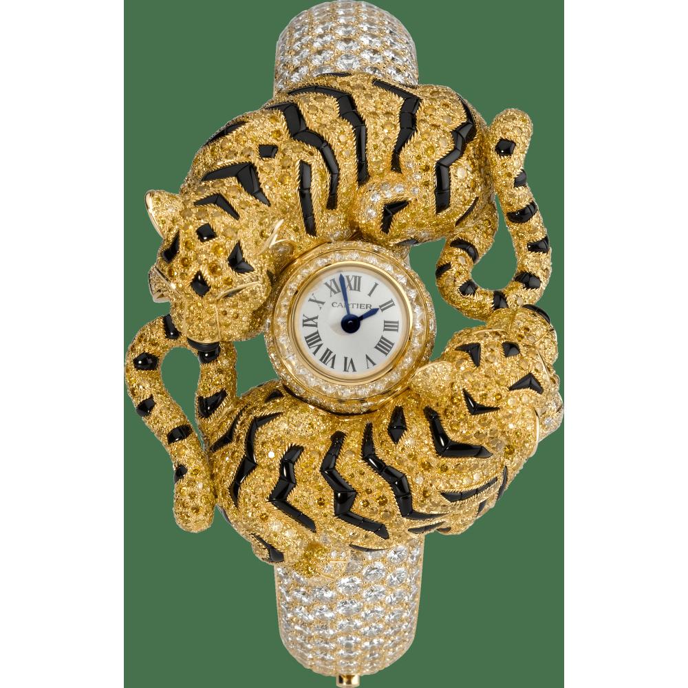 高级珠宝幼虎装饰腕表  18K黄金