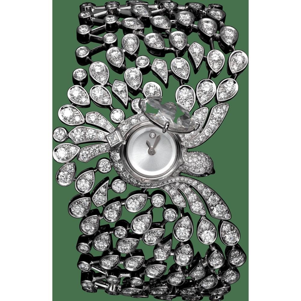 高级珠宝腕表 小号 18K镀铑白金 石英