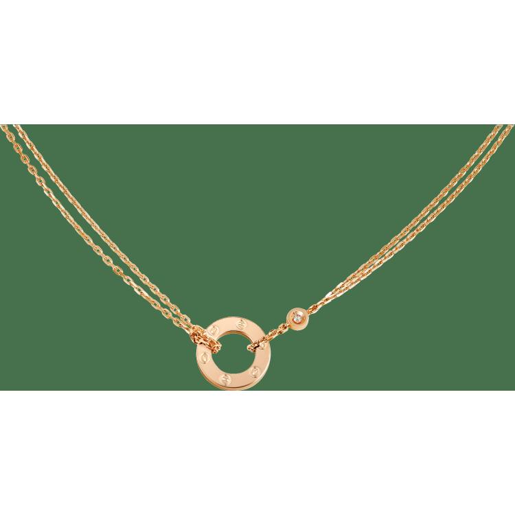LOVE项链,镶嵌2颗钻石 18K玫瑰金