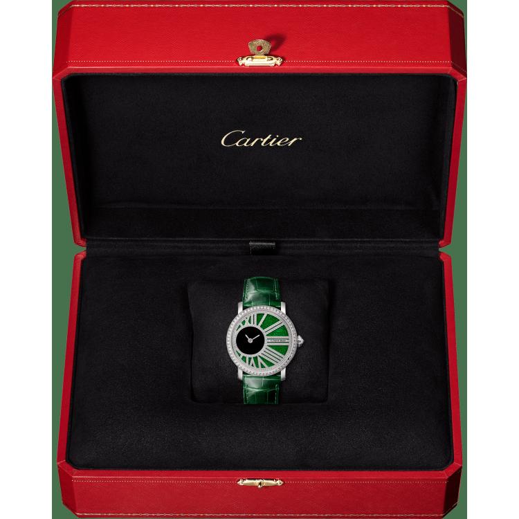 Rotonde de Cartier神秘机芯腕表 35毫米 18K镀铑白金 手动上链