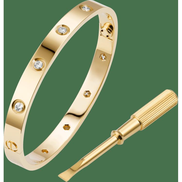 LOVE手镯,镶嵌10颗钻石 18K黄金