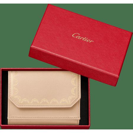 Guirlande de Cartier三折式皮夹 米色 小牛皮