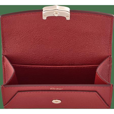 C de Cartier系列小皮具,名片夹 红色 Taurillon皮革