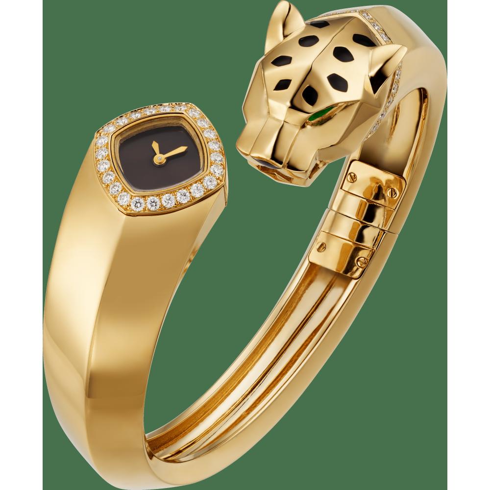 Panthère猎豹装饰珠宝腕表 迷你 18K黄金