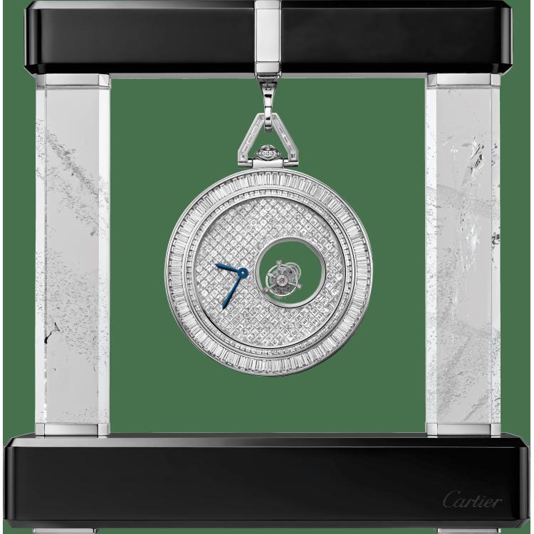 卡地亚双重神秘陀飞轮怀表 55 毫米 铂金 手动上链