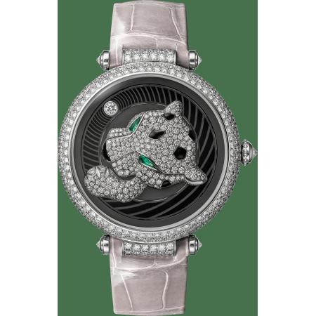 Panthère猎豹装饰珠宝腕表 40毫米 18K镀铑白金 自动上链