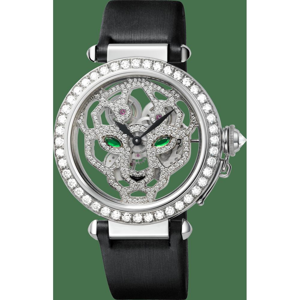 Pasha de Cartier镂空腕表,42毫米表款 42毫米 18K镀铑白金 手动上链