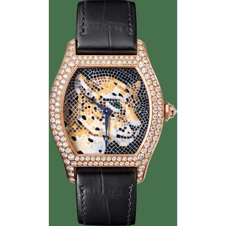 Cartier d'Art系列Tortue猎豹装饰马赛克腕表 大号 18K玫瑰金 手动上链